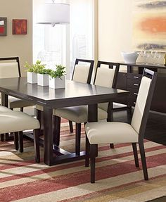 Belaire Dining Room Furniture Collection I love this table! White Dining Room Furniture, Dining Room Sets, Dining Room Design, Home Furniture, Wooden Dining Tables, Dining Table Chairs, Kitchen Tables, Layout, Dining Room Lighting