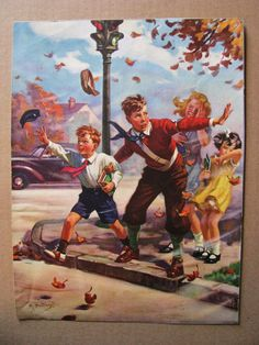 Windy Day Hintermeister Calendar Art.  Wow, remember crossing guards and those white strap things they wore?
