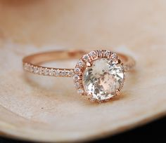 Rose gold diamond ring engagement ring with by EidelPrecious