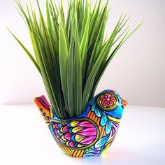 Planter Ceramic Bird Folk Art Day of the Dead Home Decor Vase Hand Painted Tattoo turquoise orange pink yellow. $40.00, via Etsy.