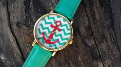 Check out this item in my Etsy shop https://www.etsy.com/listing/213330712/teal-anchor-watch-nautical-geneva-watch