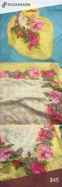 "Italian Scarf with Beautiful Roses LAURA DI LAURA BIAGOTTI Scarf. ""Laura Biagiotti is one of the biggest names in Italian fashion. Since the 60's, the brand is known worldwide for its extraordinary quality of its fashion and because it has contributed to spreading the ""made ​​in Italy"" in the world. Its brand is characterized by a classical style."" Beautiful Roses in sunny yellow & white, sepia tones for the buildings, pink, orange, red, & green flowers. Absolutely stunning scarf in fabulous…"
