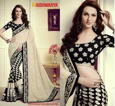 This super attractive Black & Beige saree should be on your top 5 must have list! Buy Saree online today: http://www.aishwaryadesignstudio.com/designer-beige-black-color-saree