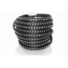 Sif Jakobs Jewellery 160cm Grey Leather Arezzo Bracelet with White... ($240) ❤ liked on Polyvore featuring jewelry, bracelets, grey, leather studded bracelet, cz jewelry, cz bracelet, studded wrap bracelet en leather bracelet