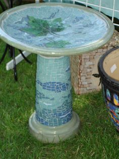Terracotta Bird Bath | sycamore bird bath glazed and fired terra cotta bird bath mosaiced ...