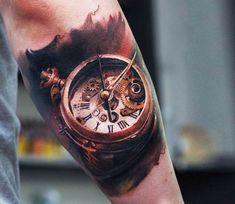 Clock tattoo by Tymur Denysenko
