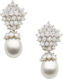 Diamond, South Sea Cultured Pearl, White Gold Earrings... Perles et diamants