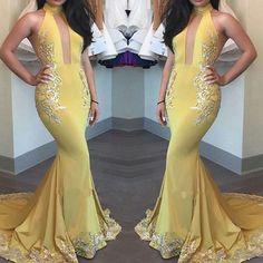 2017 Yellow Keyhole High-Neck Appliques Mermaid Beautiful Evening Dress BA4288_High Quality Wedding Dresses, Prom Dresses, Evening Dresses, Bridesmaid Dresses, Homecoming Dress - 27DRESS.COM