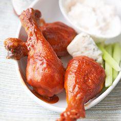 Buffalo Chicken Drumsticks with Blue Cheese Dip - chicken recipes, chicken dinner main dish