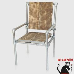 Office Chair in Metal Pipe and Scaffold by Rat and Pallet