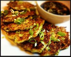 Zucchini Scallion Pancakes with Sweet Soy Dipping Sauce Recipe - The Lemon Bowl
