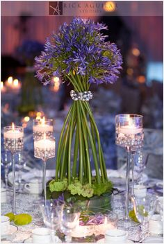 Purple & Silver Table Top from the Wedding Event at TSE 2013 designed by Anthony Gowder Designs