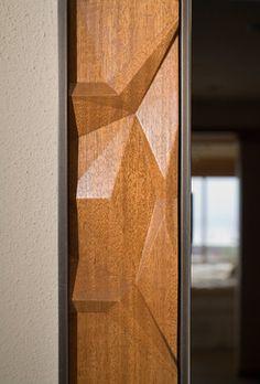 custom wood steel mirror frame; 2/2; Detail of custom CNC milled mahogany insert pieces for steel mirror frame.