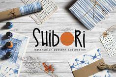 Shibori indigo watercolor collection by Tasiania on @creativemarket