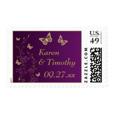 Purple, Gold Floral, Butterflies Wedding Postage 2