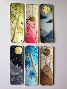 """justyna-s: """"Yesterday I've done som,e bookmarks with watercolours and ink. They're still missing something on the back and maybe some fancy ribbons. I guess I need another trip to """"Hobby. Creative Bookmarks, Cute Bookmarks, Bookmark Craft, Bookmark Ideas, Handmade Bookmarks, Vintage Bookmarks, Paper Bookmarks, Watercolor Bookmarks, Watercolor And Ink"""