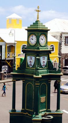English clock tower in centre of Basseterre, capital of St Kitts in the Caribbean. My Husband and I went here for our 25th anniversary.