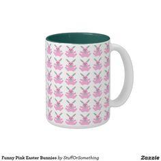 Funny Pink Easter Bunnies Two-Tone Coffee Mug