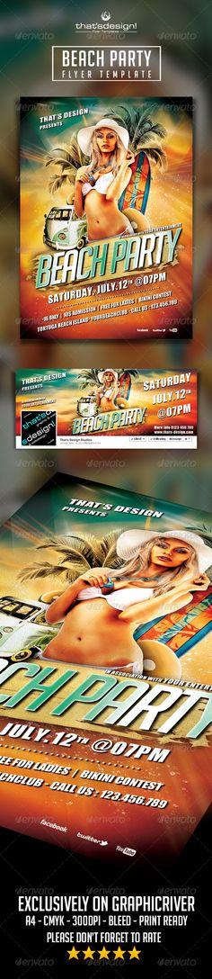 Beach Party Flyer Template Official website : http://thats-design.com/