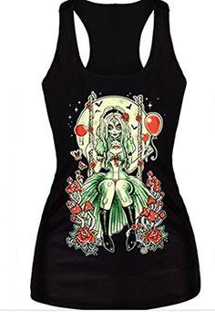 Alvak Digital Printed Flower Evil Girl Sleeveless T Shirt Vest Tank TopBXH94 * More info could be found at the image url.