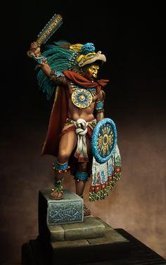by Alessandro · Putty&Paint Montezuma - Aztec Emperor. by Alessandro · Putty&Paint Aztec Statues, Aztec Costume, Aztec Emperor, Warrior Fashion, Aztec Symbols, Aztec Tattoo Designs, Warrior Drawing, Ancient Aztecs, Chicano Art