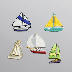 sailing boat 5pcs/set applique patches for clothing fabric patch sewing iron on fashion parches bordados embroidered patches #Affiliate