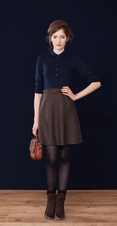 Adrienne Navy · Soft bamboo knit polo  Sally Houndstooth · Wool skirt  Betina Lou Fall-Winter 2012-13