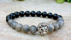 Mens Lion Bracelet, Labradorite, Black Onyx, Power Bracelet, Wrist Mala, Yoga Bracelet, Mens Bracelet, Gemstone Bracelet, Lion Head Bracelet