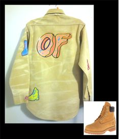 3bc15d87ccf4 Ofwgkta Odd Future Donut logo style bleached distressed LONG SLEEVE FLANNEL  Nubuck Timberlands Shirt Golf Wang by NuelifeGraphics on Etsy