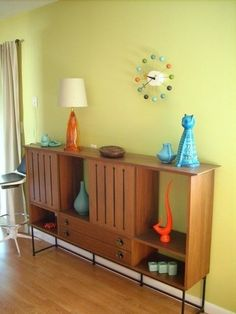 Mid Century Modern bookcase/cabinet. Love every item in this picture.