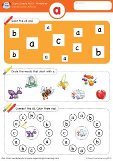Lowercase letter a alphabet worksheet from Super Simple Learning. #preschool #phonics