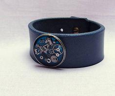 Konciny / Steampunkový modrý náramek