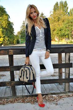 Sheinside Blazer, Zara Jeans, La Pallete Bag  #whitepants #stripes #stripedblouse
