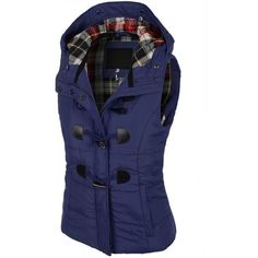 LE3NO Womens Classic Toggle Padded Puffer Jacket Vest with Faux Fur... ❤ liked on Polyvore featuring outerwear, vests, plaid vest, puffy vests, blue puffy vest, blue puffer vest and puff vest