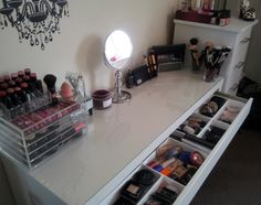 Beauty is in Eye of the Beholder.: My Makeup Collection & Storage! Makeup Storage Organization, Diy Storage, Storage Ideas, Small Bedroom Vanity, Bedroom Vanities, Black Wooden Chairs, Ikea Vanity Table, Vanity For Sale, Makeup Collection Storage