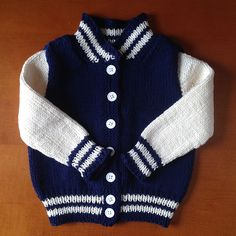 Ravelry: Baby Letterman Jacket pattern by Angie Schumacher Boys Knitting Patterns Free, Baby Cardigan Knitting Pattern Free, Free Knitting, Sewing Patterns, Baby Boy Cardigan, Cardigan Bebe, Knitted Baby Cardigan, Knit Baby Sweaters, Boys Sweaters