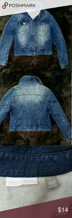 1 DAY SALE! Jean jacket New York & Company Distressed Jean jacket by New York & Company.  Button down with buttons on the wrists.  The color is darker than in the first 2 pictures.  The last two show the true color blue.  The jacket has a lot of stretch to it, so even though it is a size small, I believe it would fit a medium as well.  22 in length.  Like new. New York & Company Jackets & Coats Jean Jackets