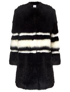 Black and White Faux Fur Coat   Ainea   Avenue32