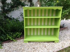 WHIMSICAL SHABBY CHIC green white striped bookcase - charming bookcase chalk paint furniture Two Whimsies on Etsy, $250.00