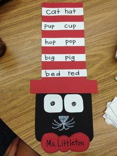 Cat in the Hat rhyming words activity! Classroom Crafts, Classroom Fun, Future Classroom, Dr Seuss Week, Dr Suess, Rhyming Activities, Activities For Kids, Read Across America Day, Kindergarten Literacy