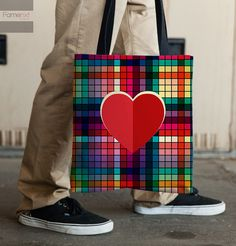 Tote Bag. Colorful Block Patterns Heart Abstract by FamenxtFiesta