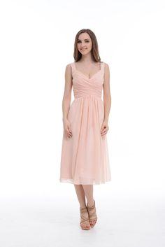 Pearl Pink A-Line Princess V-neck Tea-Length Spaghetti Straps Chiffon 3a549ef356