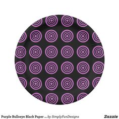 Purple Bullseye Black Paper Plates 7 Inch Paper Plate