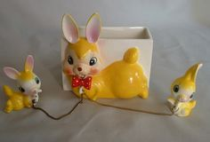 Rare Vintage Japan Bunny Chainer Planter with Babies by Jantiki