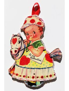 Vintage Valentine Card Ornament ~Glittered Wooden  Decoration~Pony Boy