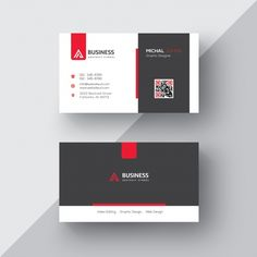 Black and white business card with red d. Business Cards Layout, Free Business Card Templates, Free Business Cards, Modern Business Cards, Professional Business Cards, Print Templates, Business Flyer, Business Card Design, Id Card Design