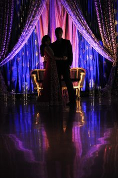 Love the fabric draping and the use of lighting.Idea/photo from prashedecor.com