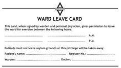 Arkham Asylum Ward Leave Card