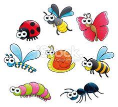 Bugs + 1 snail. Royalty Free Stock Vector Art Illustration