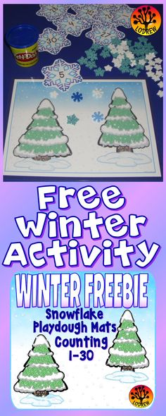 Free winter activity. Snowflake counting from 1 to 30. Use with playdough, pompoms, foam snowflakes, or any wintry manipulatives. For kindergarten, preschool, SPED, child care, homeschool, or any early childhood setting. Enjoy!